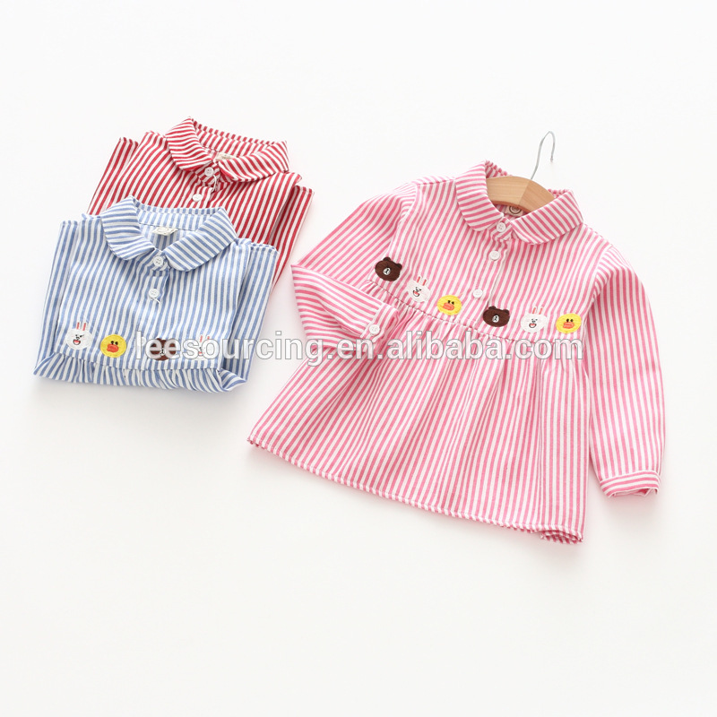 f51c013821c3 Χονδρικό χαριτωμένο κέντημα κορίτσια στυλ λωρίδα τελευταίες παιδιά ντύνονται