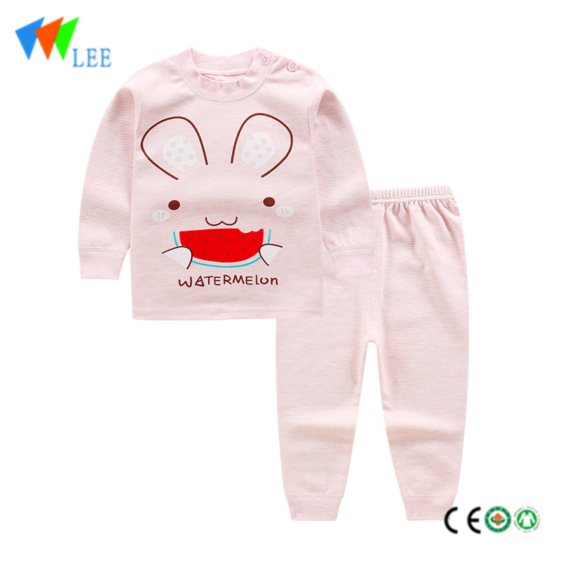 Organic cotton wholesale baby kids clothing sets printed