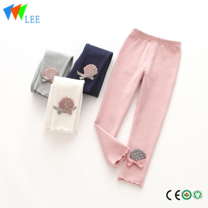 8d8f14d44 100% cotton baby girl leggings wholesale applique lovely shell ...